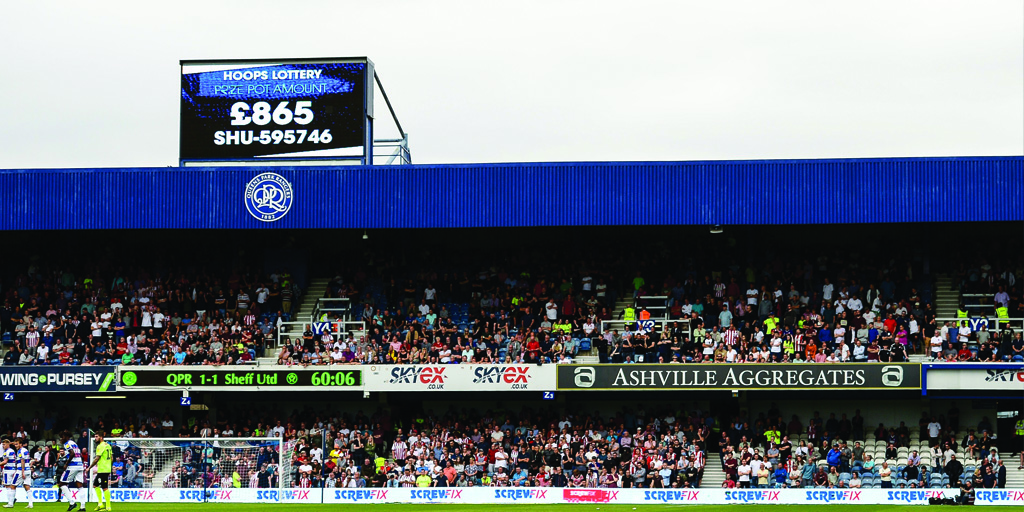 A packed away end adding to the famous Loftus Road atmosphere